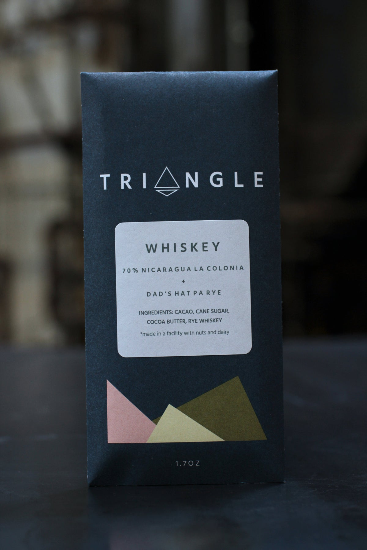 Triangle 70% Nicaragua La Colonia Dark Chocolate With Dad's Hat Pa Rye Whiskey