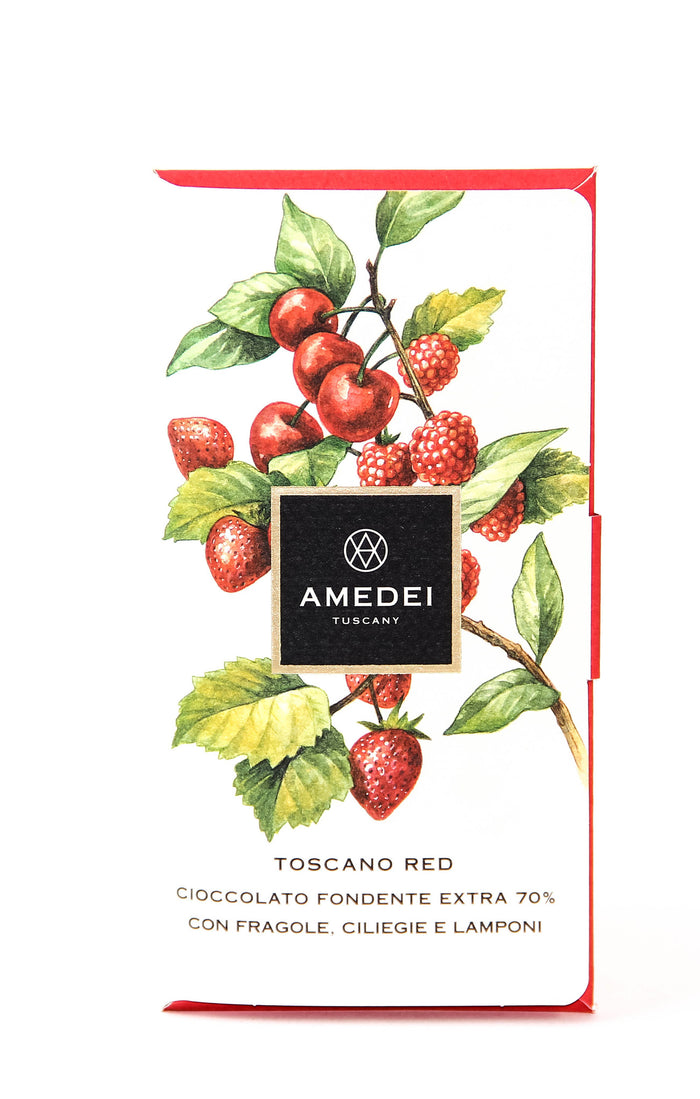 Amedei Toscano Red 70% Dark Chocolate with Cherries, Strawberries and Raspberries