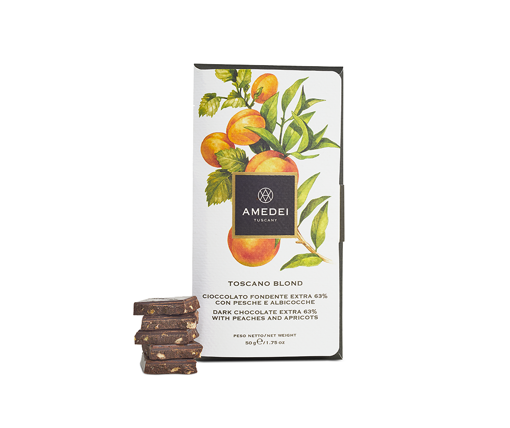 Amedei Toscano Blond 63% Dark Chocolate with Apricots and Peaches