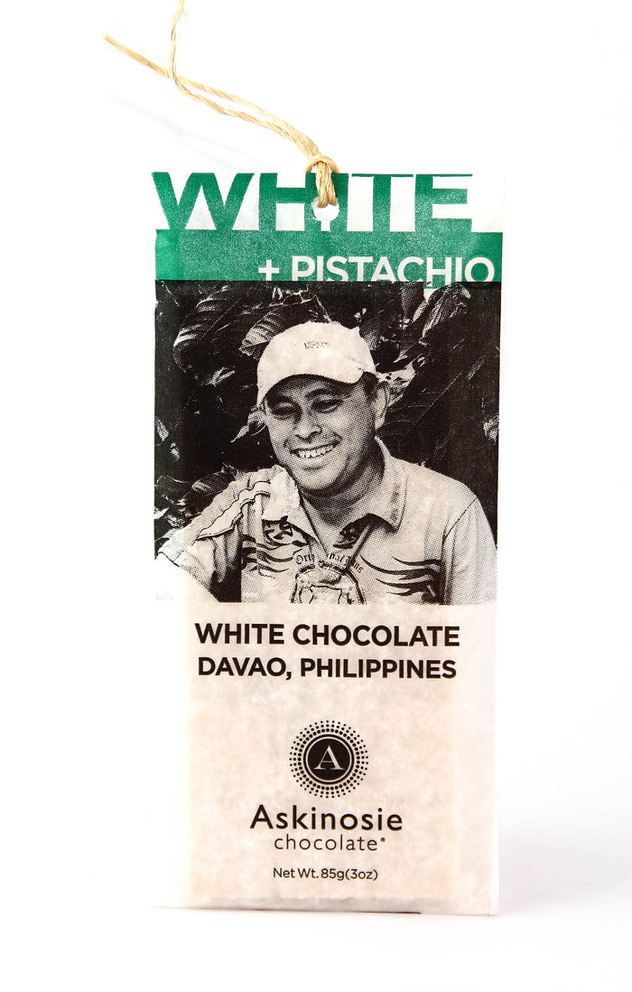 Askinosie Davao 34% White Chocolate with Pistachios