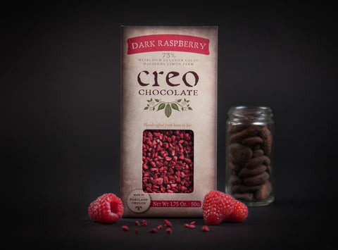 Creo 73% Dark Chocolate with Raspberries