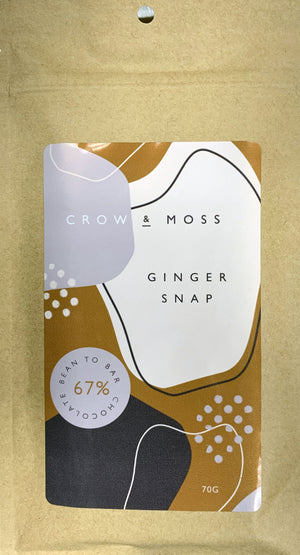 Crow & Moss 67% Dark Chocolate with Ginger Snaps