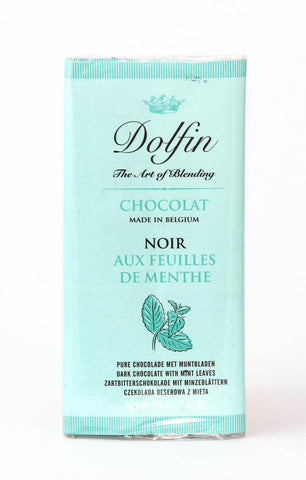 Dolfin 52% Dark Chocolate & Mint Leaves