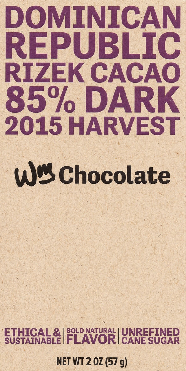 Wm. Chocolate Dominican Republic Rizek Cacao 85% Dark Chocolate
