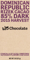 Wm. Chocolate Dominican Republic, Rizek Cacao 85% 2oz.