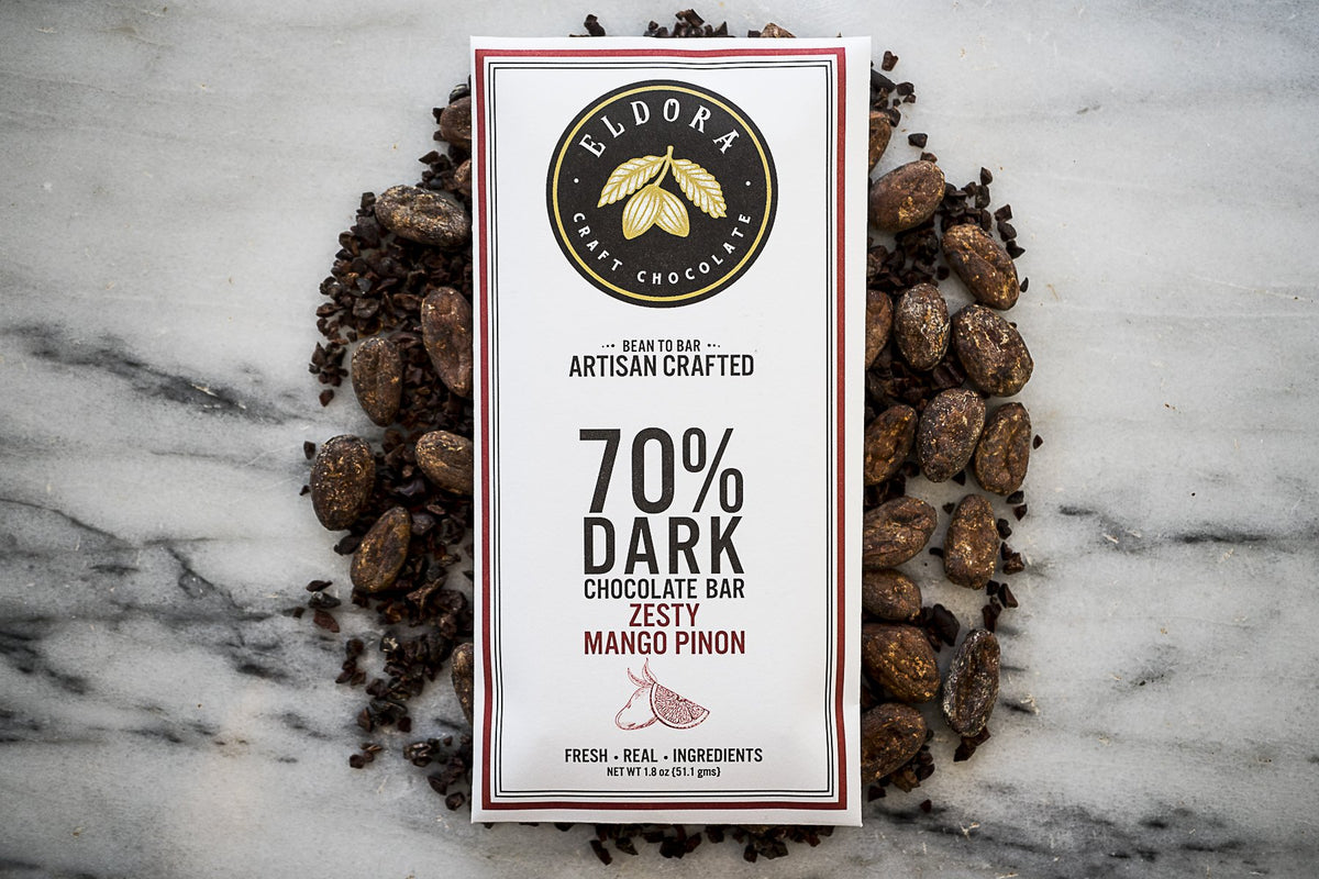 Eldora 70% Dark Chocolate with Zesty Mango & Pinon