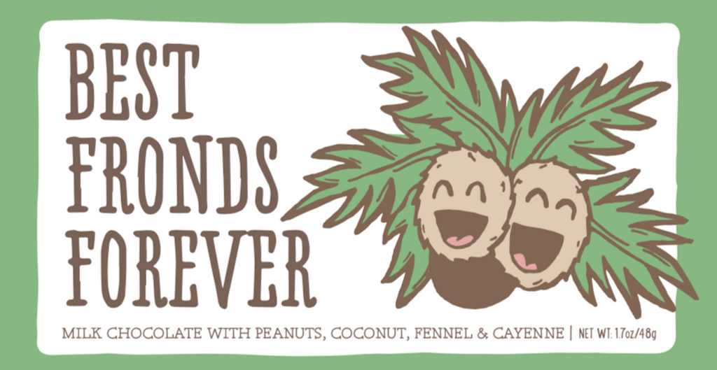"Only Child ""Best Fronds Forever"" Milk Chocolate with Peanuts, Coconut, Fennel and Cayenne"
