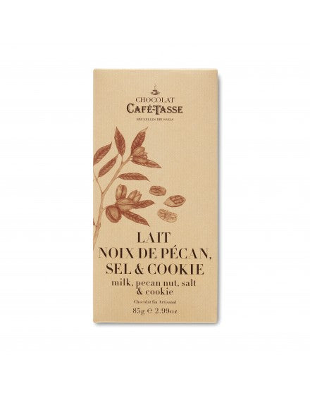 Cafe Tasse Milk Chocolate with Pecan, Sea Salt, and Cookie