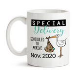 Coffee Mug, Personalized Special Delivery Blue Pink or Mint Stork Baby Announcement Pregnancy Reveal