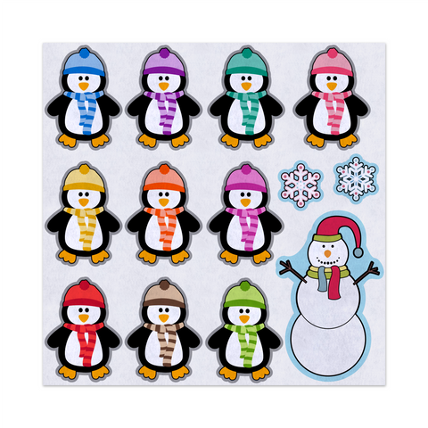 5 or 10 Little Penguins Build A Snowman Rhyme, Felt Storyboard Art, Teacher Resource, Preschool, Quiet Toy, Flannel Board Set, Educational