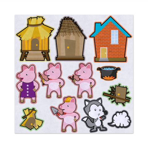 Three Little Pigs Big Bad Wolf, Felt Storyboard Art, Teacher Resource, Preschool, Quiet Toy, Flannel Board Set, Educational Fun