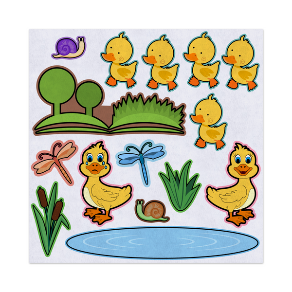 5 Little Ducks, Nursery Rhyme, Felt Storyboard Art, Teacher Resource, Preschool, Quiet Toy, Flannel Board Set, Educational Fun
