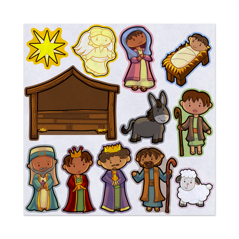 Away In A Manger Christmas Nativity, Felt Storyboard Art, Teacher Resource, Preschool, Quiet Toy, Flannel Board Set, Educational Fun