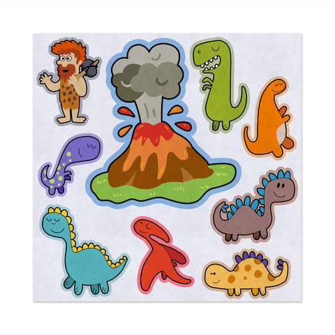 Dinosaurs Fun Island, Caveman, Volcano, Felt Storyboard Art, Teacher Resource, Preschool, Quiet Toy, Flannel Board Set, Educational Fun