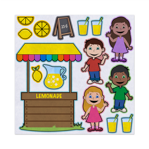 Lemonade Stand, Kids Selling Drinks, Felt Storyboard Art, Teacher Resource, Preschool, Quiet Toy, Flannel Board Set, Educational Fun