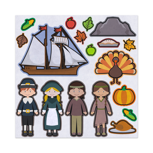 Thanksgiving Traditions, Pilgrims Voyage, Felt Storyboard Art, Teacher Resource, Preschool, Quiet Toy, Flannel Board Set, Educational Fun