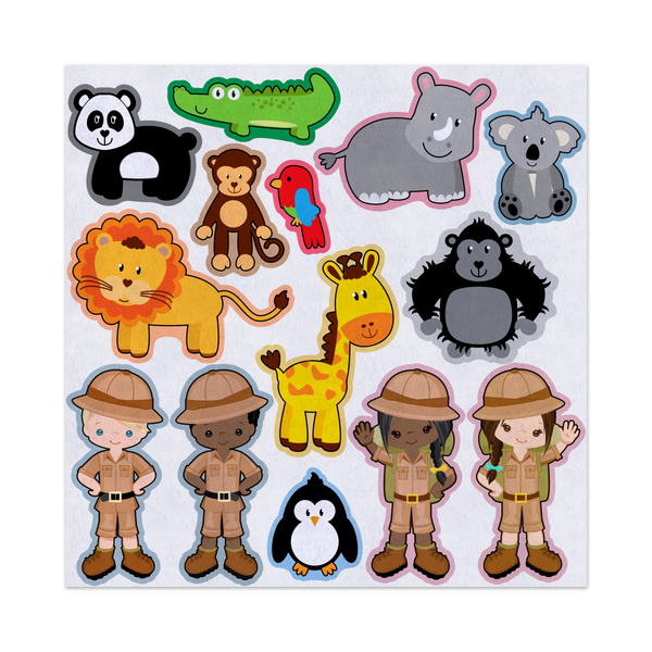 Zookeepers and Zoo Animals, Learning About Animals, Felt Storyboard Art, Teacher Resource, Quiet Toy, Flannel Board Set, Educational Fun