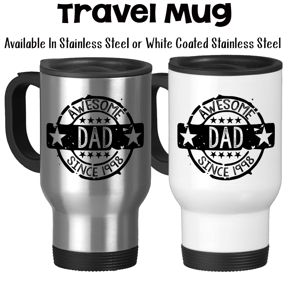 Travel Mug Awesome Dad Seal Of Approval Personalized Fathers Day Gif Groovy Giftables TM