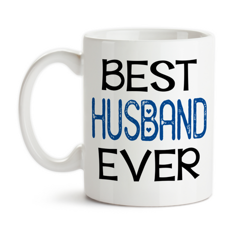Coffee Mug, Best Husband Ever 001, Blue Heart Valentines Day Anniversary Gift Wedding Gift Love Romantic, Gift Idea, Coffee Cup at GroovyGiftables.com