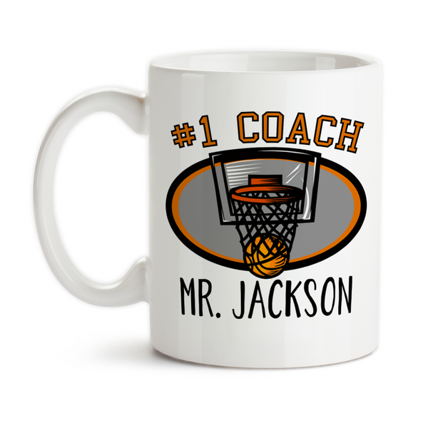 Coffee Mug, Number One #1 Sports Best Basketball Coach Gift Name Personalized Monogram