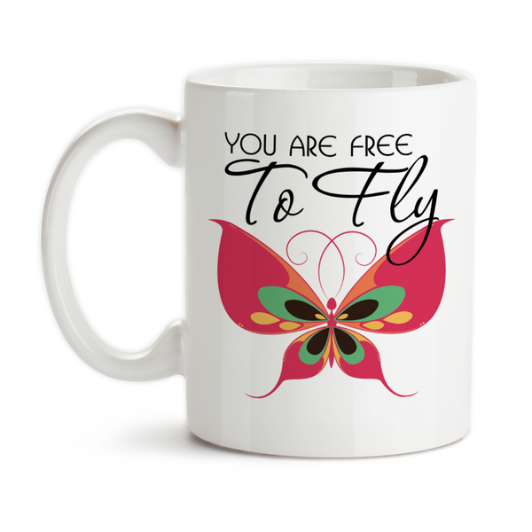 Coffee Mug, Pink Colorful Beautiful Butterfly You Are Free To Fly Graduation Be Free Bright Future, Gift Idea, Coffee Cup at GroovyGiftables.com