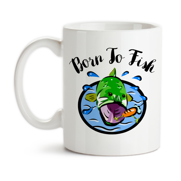 Coffee Mug, Born To Fish Fishing Fisherman Rather Be Fishing Bass Fishing Bass Fish Angler Love To Fish, Gift Idea, Coffee Cup at GroovyGiftables.com
