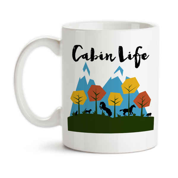 Coffee Mug, Cabin Life, Mountain Scenic Art, Off The Grid, Rustic Living