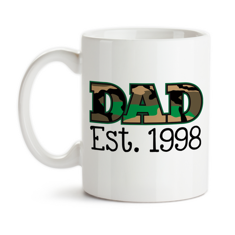 Coffee Mug, Dad Personalized Date Camo Military Father's Day Parenting Dad Hero Birthday
