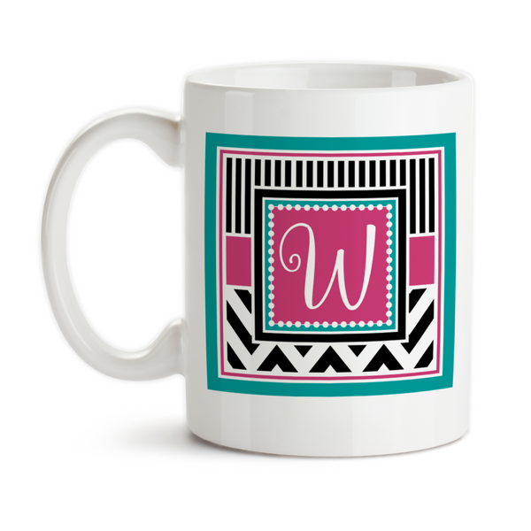 Coffee Mug, Chic Chevron 001 Monogram Initial Girly Birthday Christmas Pink Teal Black White