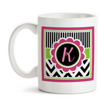 Coffee Mug, Chic Chevron 002 Monogram Initial Girly Birthday Christmas Pink Lime Black White