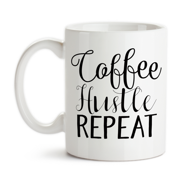 Coffee Mug, Coffee Hustle Repeat Get Stuff Done Motivation Be Productive Must Have Coffee Hustling, Gift Idea, Coffee Cup at GroovyGiftables.com
