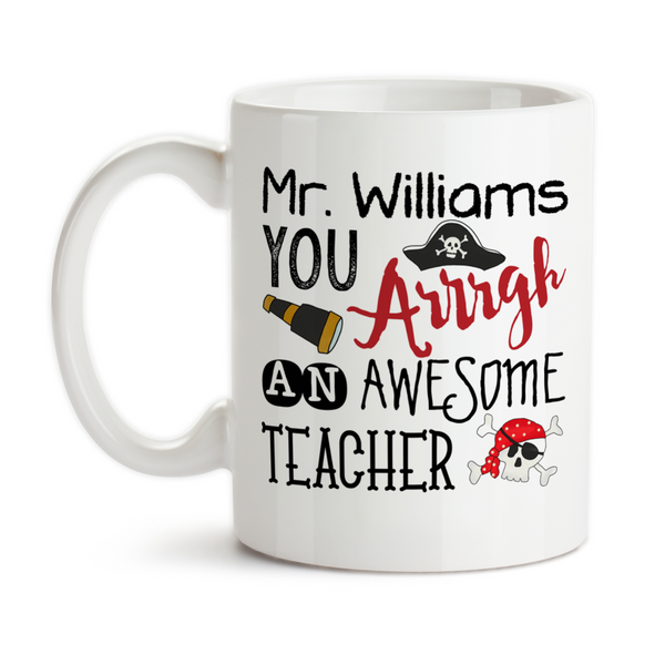 Coffee Mug, Personalized Pirate Teacher Gift, Pirate, Red, Gift For Male Teacher