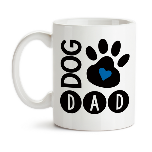 Coffee Mug, Dog Dad I Love My Dog Dog Owner Dog Lover Dog Paw Print Dog Life
