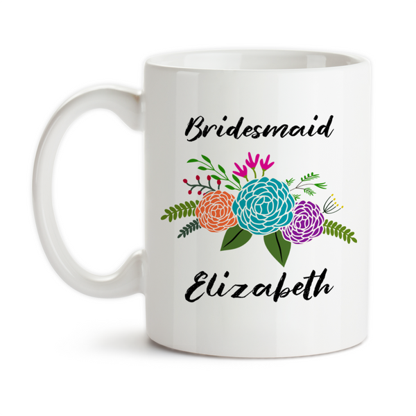 Coffee Mug, Personalized Bridesmaid Mug 001, Floral Bridesmaid Gift, Bridesmaid Keepsake, Be My Bridesmaid Gift Idea, Coffee Cup at GroovyGiftables.com