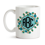 Coffee Mug, Flower Monogram 3 Initials 001 Personalized Flower