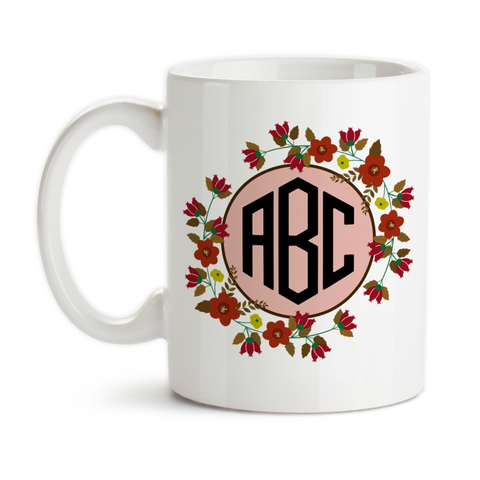 Coffee Mug, Flower Monogram 3 Initials 002 Personalized Flower