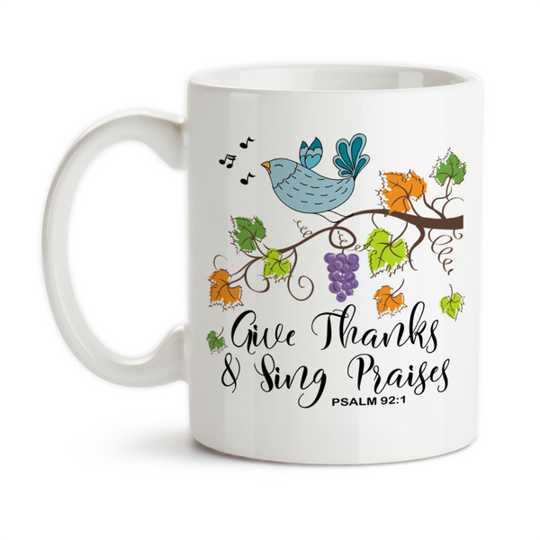 Coffee Mug, Give Thanks and Sing Praises Christian Psalm Bird Branch Fall Leaves Autumn Thanksgiving, Gift Idea, Coffee Cup at GroovyGiftables.com