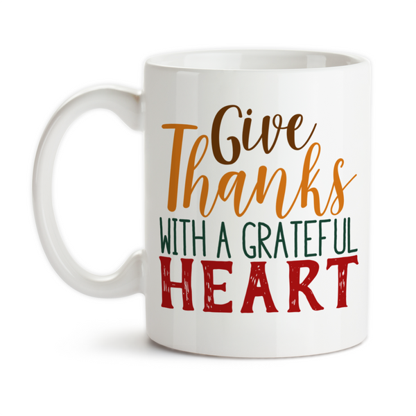Coffee Mug, Give Thanks With A Grateful Heart Thanksgiving Fall Theme Autumn Thankful, Gift Idea, Coffee Cup at GroovyGiftables.com