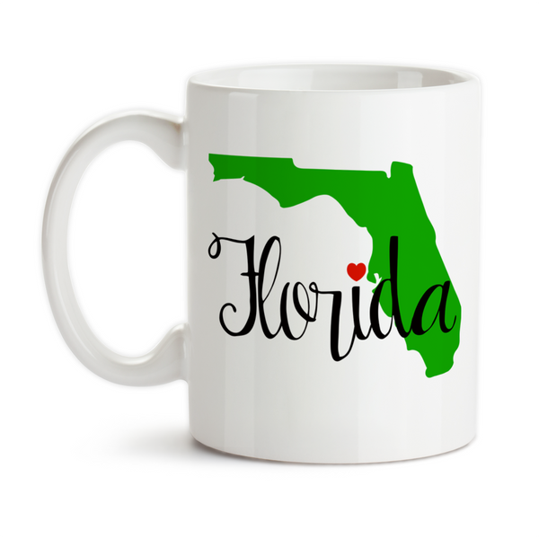 Coffee Mug, I Love Florida I Heart Florida Florida Vacation Born Raised Florida State Silhouette