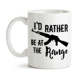 Coffee Mug, I'd Rather Be At The Range Target Shooting Shooting Practice Right To Bear Arms Silhouette