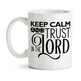 Coffee Mug, Keep Calm Trust In The Lord Don't Worry Pray About It Give It To God Christian Religious, Gift Idea, Coffee Cup at GroovyGiftables.com
