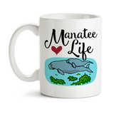 Coffee Mug, Manatee Life Sea Cow Manatee Art Manatee Mom and Baby I Love Manatees