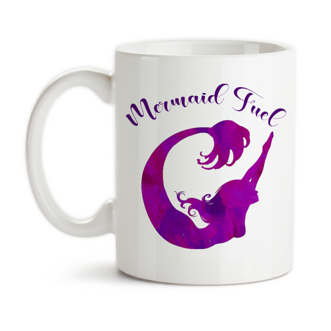 Coffee Mug, Mermaid Fuel, Mermaid Gift, Mermaid Mug, Mermaid Watercolor Art, Purple Mermaid, Mermaid Silhouette