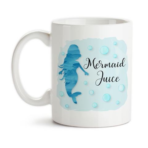 Coffee Mug, Mermaid Juice, I'd Rather Be A Mermaid, Mermaid Watercolor, Mermaid Fuel