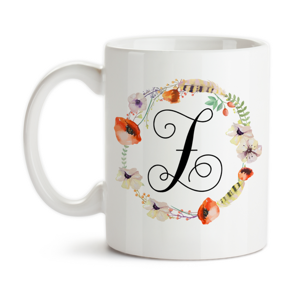 Coffee Mug, Monogram Initial Girly Feminine Poppie Flower Wreath Feather Art Watercolor Art, Gift Idea, Coffee Cup at GroovyGiftables.com