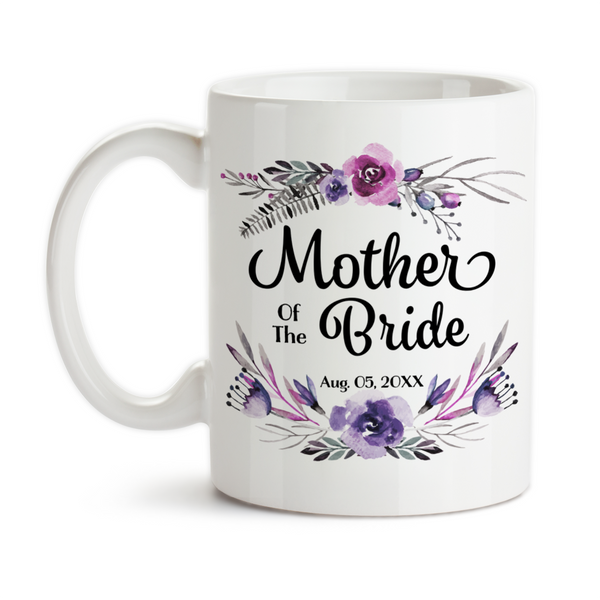 Coffee Mug, Mother Of The Bride 003 Wedding Party MOTB Gift Purple Floral Bridal Party Wedding