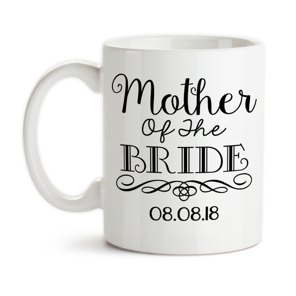 Coffee Mug, Mother Of The Bride 004 MOTB Gift Swirl Elegant Bridal Party Wedding