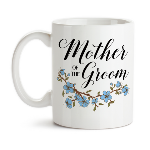 Coffee Mug, Mother Of The Groom 001 Wedding Party MOTG Gift Blue Floral Grooms Party, Gift Idea, Coffee Cup at GroovyGiftables.com