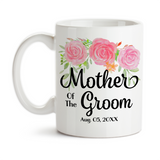 Coffee Mug, Mother Of The Groom 002 Wedding Party MOTG Gift Pink Floral Grooms Party Wedding , Gift Idea, Coffee Cup at GroovyGiftables.com