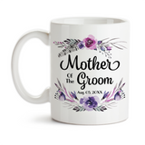 Coffee Mug, Mother Of The Groom 003 Wedding Party MOTG Gift Purple Floral Grooms Party Wedding